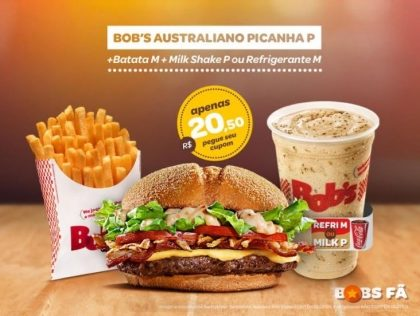 Australiano Picanha P + Batata M + Milk Shake P ou Refrigerante M por R$20,50