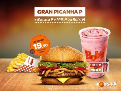 Gran Picanha P + Batata P + Milk Shake P ou Refrigerante M por R$19,50