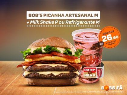 Bob's Picanha Artesanal M + Milk Shake P ou Refri M por R$26,60