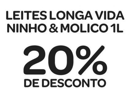 Leites Longa Vida, Ninho e Molico 1 litro com 20% de desconto