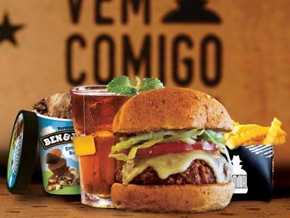 Combo R$40: Veggie Burger Psicopata ou Suspeito + Drink de Chá Lipton + Batata McCain + Sorvete Ben & Jerry's