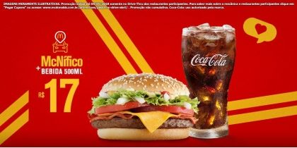 Drive-Thru: McNífico Bacon + Bebida 500ml R$17