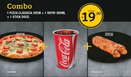 Pizza clássica 20cm + 1 Refrigerante 300ml + 1 Stick de doce de leite por R$19,90