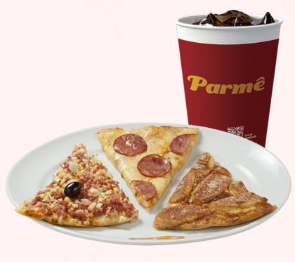 3 Fatias de Pizza + Refrigerante 300 ml por apenas R$ 12,50