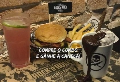 Cheeseburger, Salada ou Bacon + 1⁄2 Fritas + Lemonade Refil + Brownie com Sorvete na Caneca por R$46,90