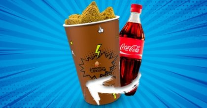 Copo G com 50 Coxinhas ou Salgados Variados + Coca Cola (600mL) por R$23,69!
