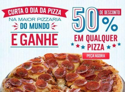[VÁLIDO NO SITE] 50% OFF em Qualquer Pizza!