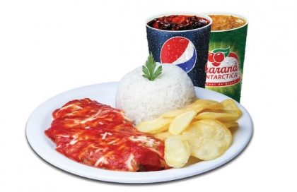 Top Center: Parma Chips Carne (Parmegiana de Alcatra + Arroz + Batata Chips ou Fritas) + Refri 300ml por R$19,90