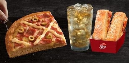 Combo Brasileira: Pizza Superfatia / Individual + Refri 300ml + Acompanhamento por R$ 19,90