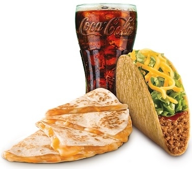 Cheese Quesadilla + Crunchy Taco Beef + Refri 400ml por R$ 16,99