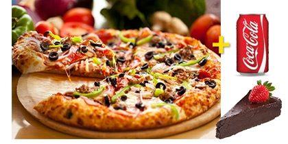 Pizza Individual + Refrigerante Lata + Qualquer Sobremesa com 20% de desconto