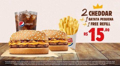 2 Cheddar + 1 Batata Pequena + 1 Free Refill por R$ 15,00