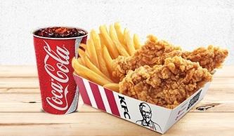 Snack Box: 2 Tirinhas + Batata Frita Média + Refri 500ml por R$ 9,90