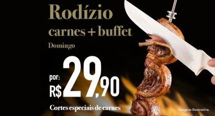 Rudge Ramos: Rodízio de Carnes + Buffet por R$ 29,90 no jantar de domingo