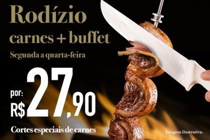 Aeroporto: Rodízio de Carnes + Buffet por R$ 27,90 no jantar de segunda a quarta