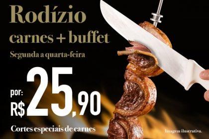 Bela Vista: Rodízio de Carnes + Buffet por R$ 25,90 no jantar de segunda a quarta