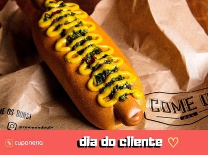 (DIA DO CLIENTE) A partir do dia 15/9: Na compra de qualquer hot-dog ganha um igual ou de qualquer valor!
