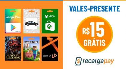 Cupom de R$15 OFF no Gift Card para novos usuários RecargaPay!