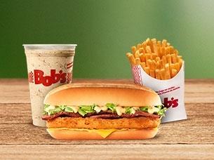 Bob's Crispy P + Batata M + Milk P ou Refri M por R$ 16,00