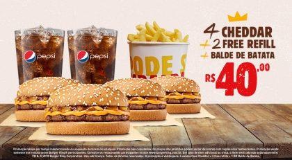 4 Cheddar + 2 Free Refil + 1 Balde de Batata por R$ 40,00