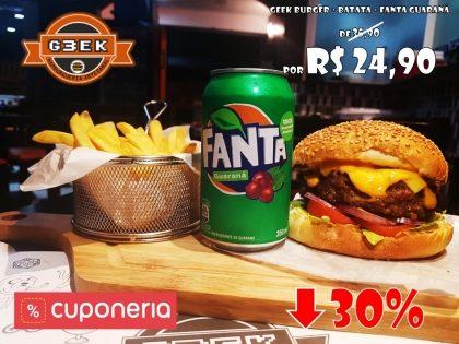 Geek Burger + Batata + Fanta Guaraná por apenas R$24,90