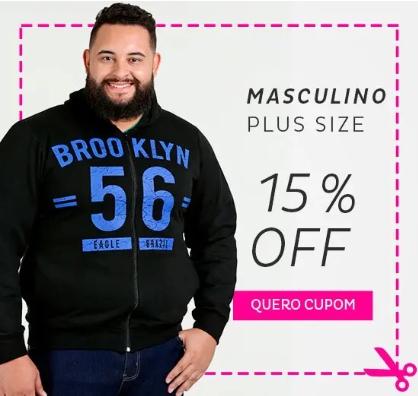 Cupom de 15% OFF em moda Masculina Plus Size no site da Marisa!