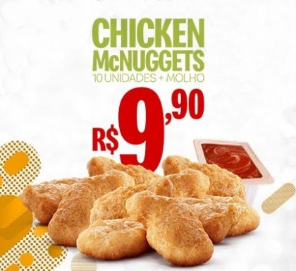 Chicken McNuggets 10 unidades + Molho R$ 9,90