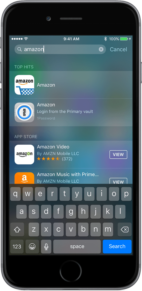 Shows Spotlight results on iOS for 1Password entries.
