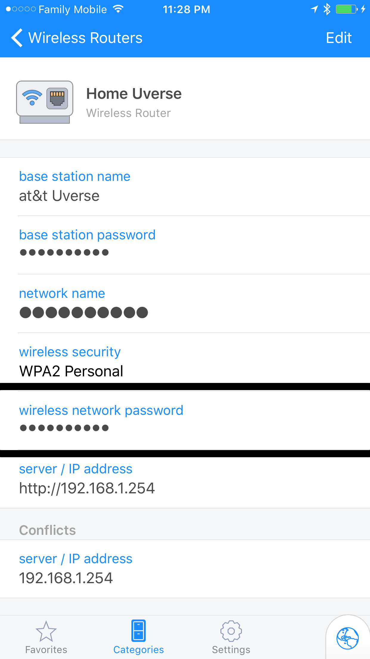 Shows a wireless network entry with some detail filled in