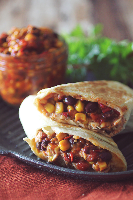 Crockpot Santa Fe Chicken Burritos — Dashing Dish
