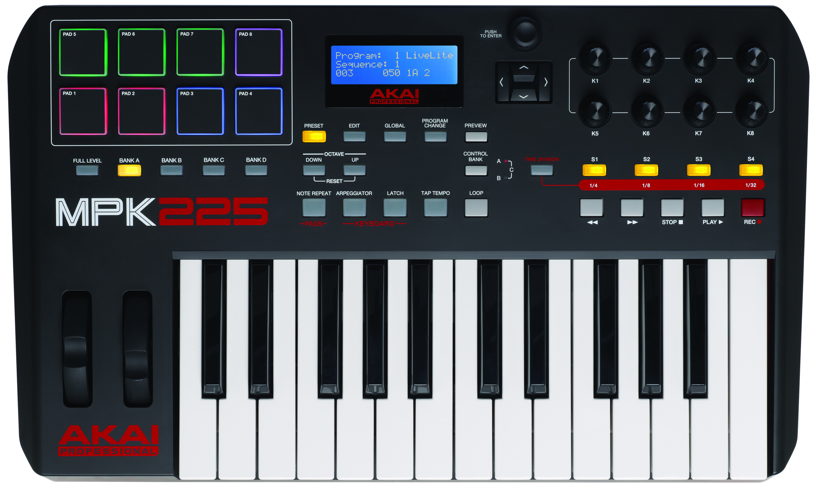 AKAI MPK 225 25-key MIDI Controller with Drum Pads $249