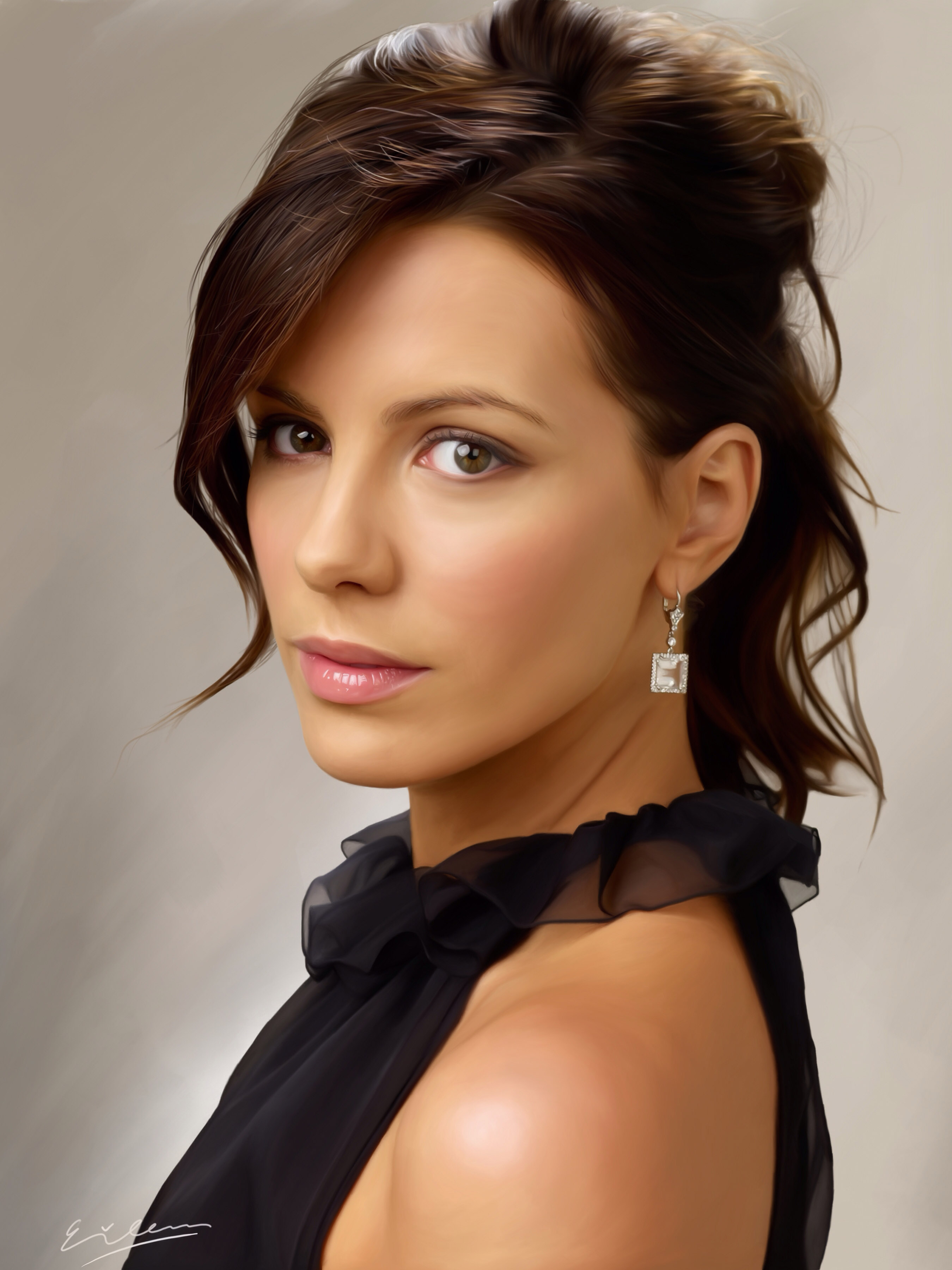 Airbrushed and Idealized Young Kate Beckinsale as LADY LIBERTY - Magic Painting by Eileen Irma - There is NOTHING WRONG with this picture. This is an idealized beautiful and confident young woman dressing as she pleases. Note the brown hair and brown eyes and exposed shoulder.