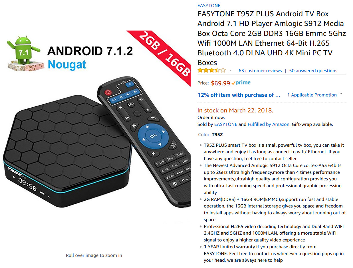 Amazon Android TV Listing