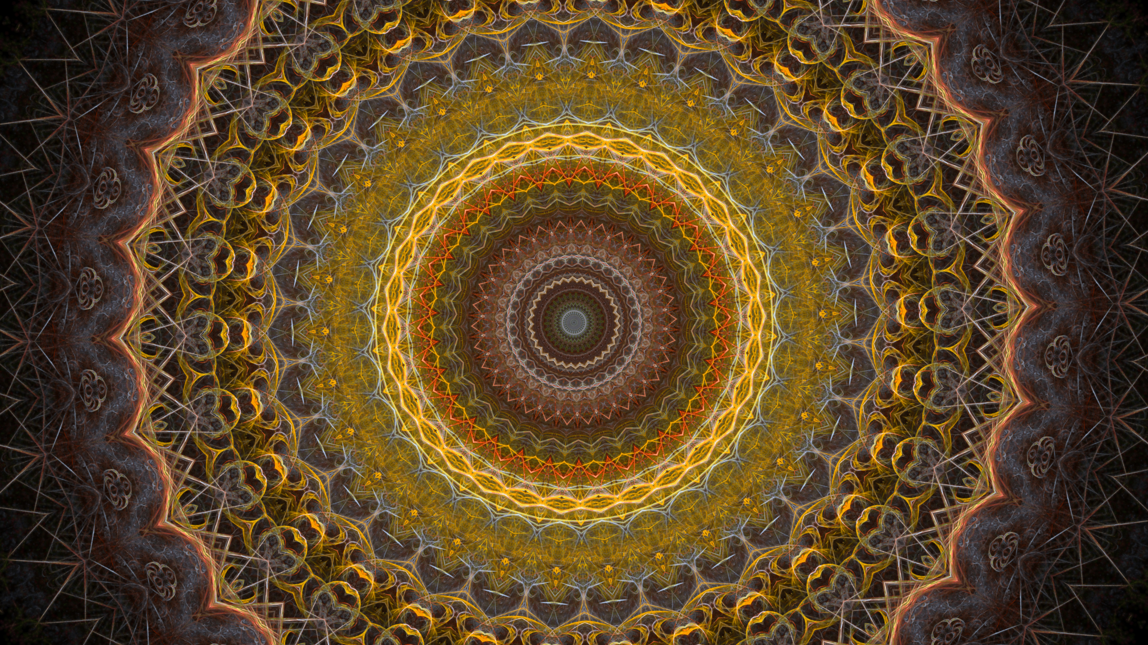 Gold Color Radial Kaleidoscope from Fractal Flame Image 4K Thumbnail