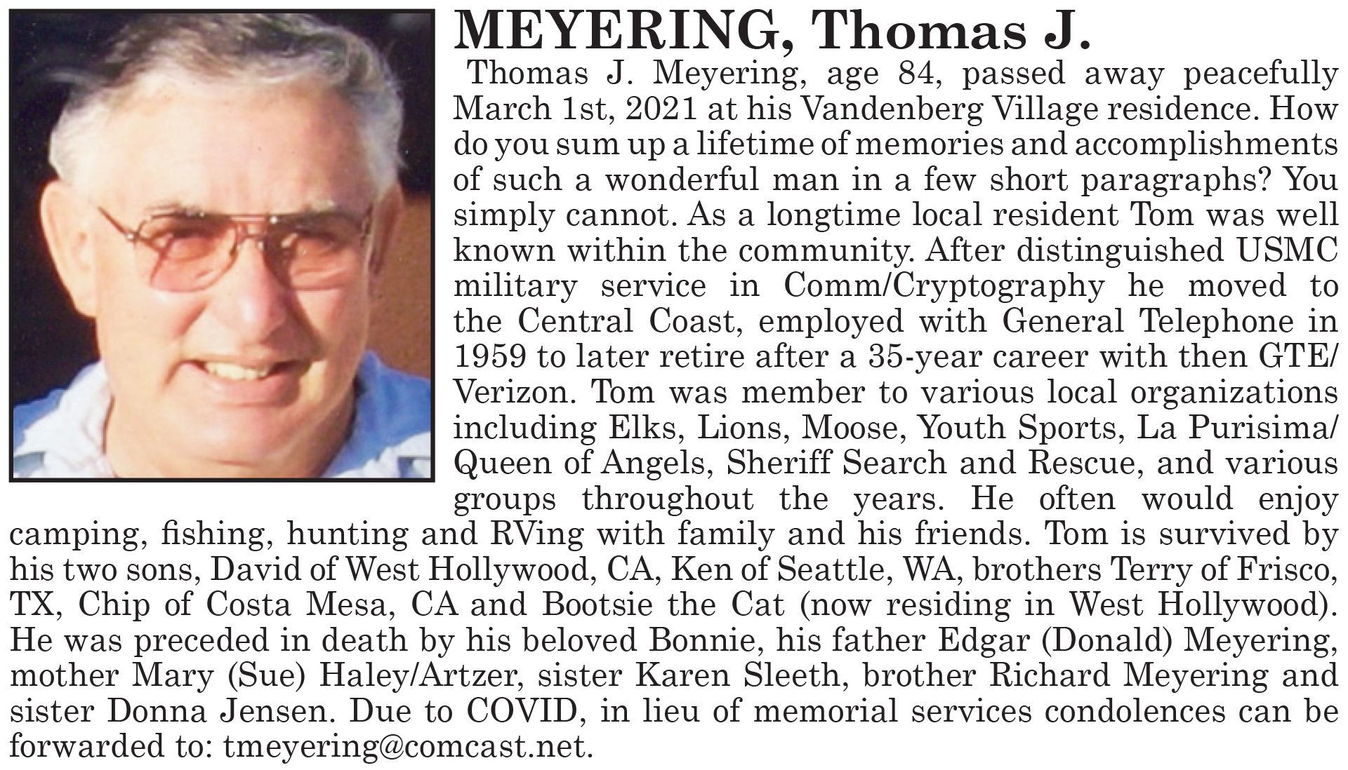 Ken's Dad's Obituary