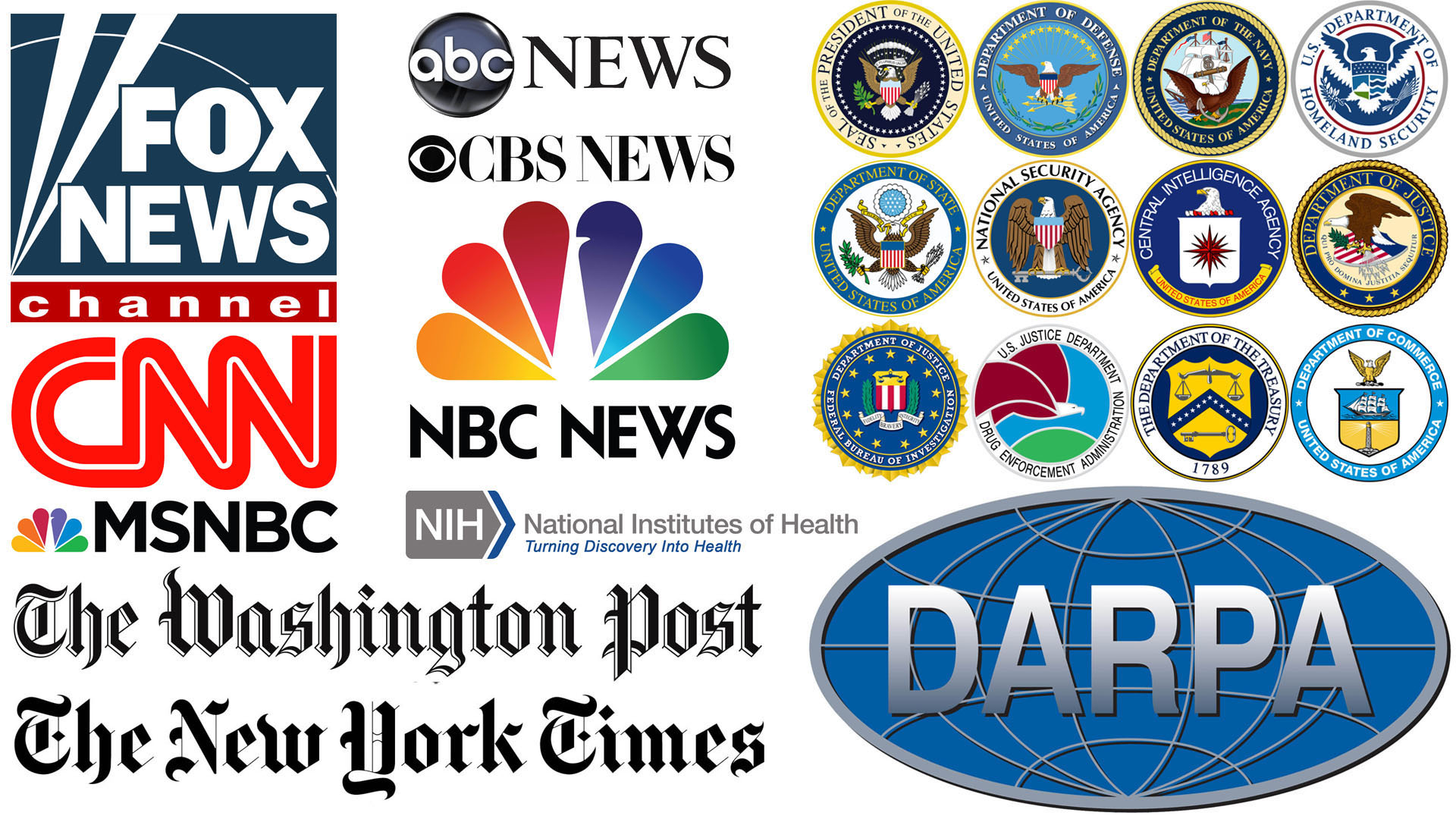 Many American Mass Media News and Official U.S. Government Seals and Logos