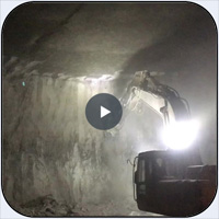 AQ4 on JD330 Scaling Underground Limestone Mine.
