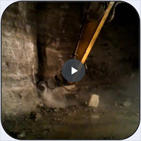 AQ-4 on PC300 Underground Limestone Mine Scaling.