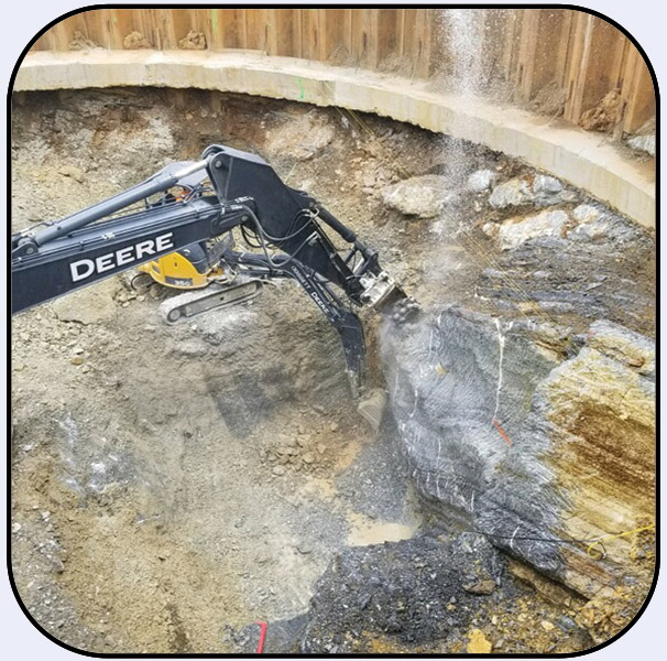 AQ4 on John Deere 350 Excavating Shaft for Tunnel in Georgia
