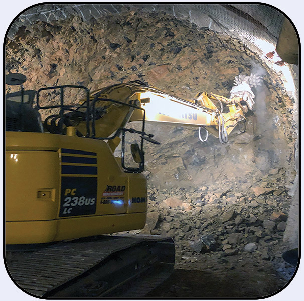 Drum Cutter AQ-3XL on PC238 Commercial Wine Cave Excavation in Napa California