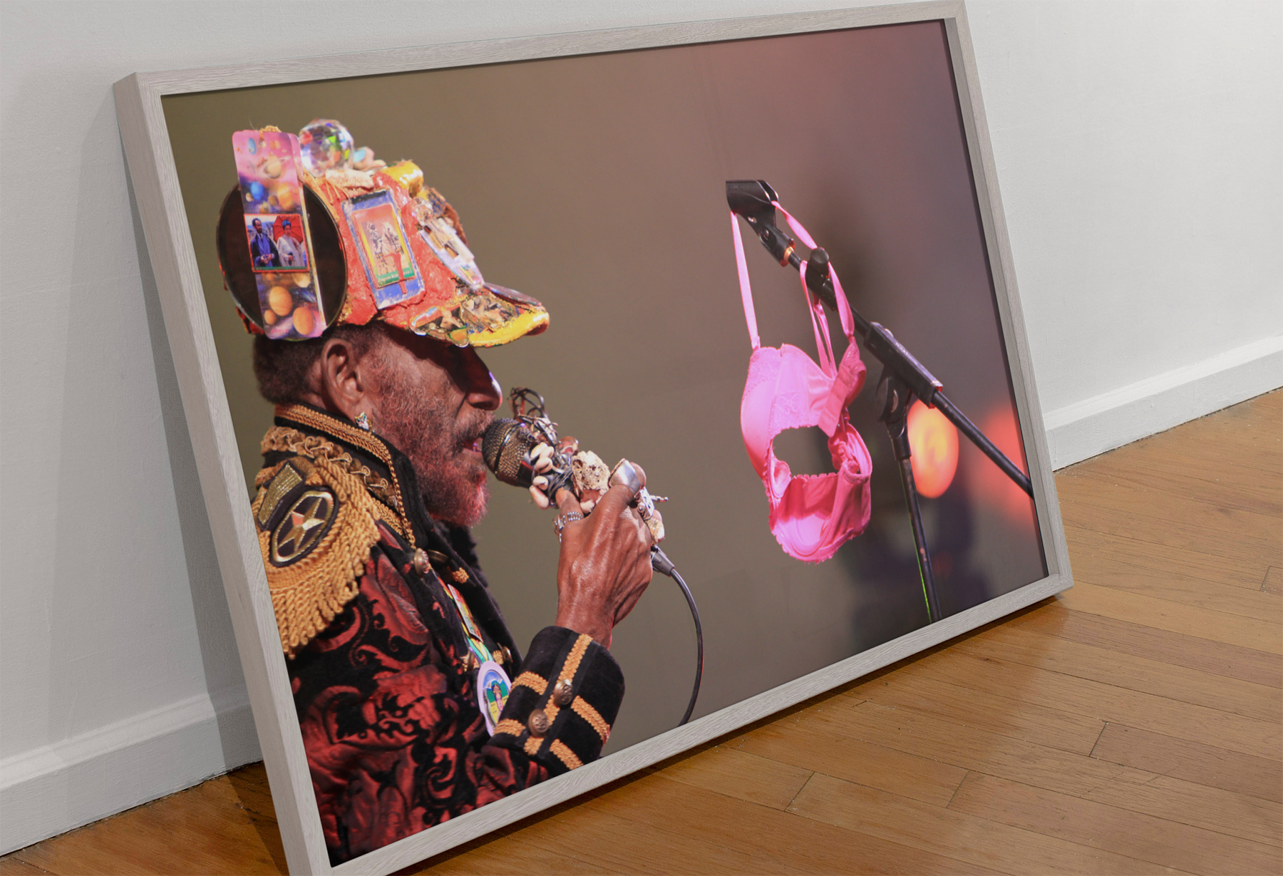Lee Scratch Perry Live at Beat Herder 2012 (crowd throw their under wear at Lee Scratch Perry) by Michelle Heighway - photo paper poster