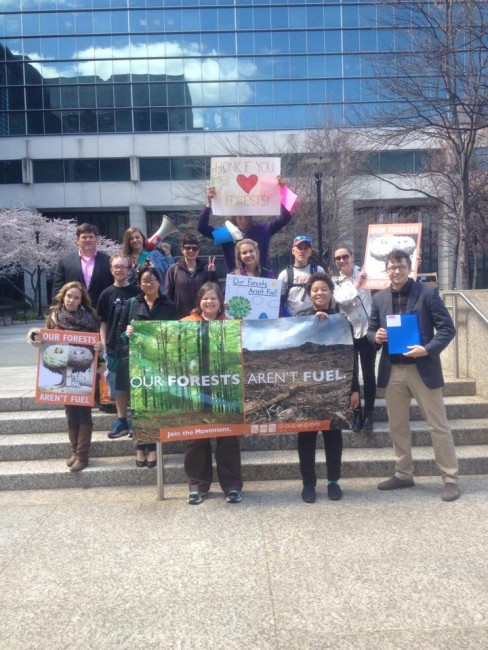 Forest advocates on the stairs of the EPA.
