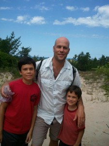 Tyson with his two sons, Ayden and Kyle.