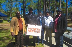 Jame (JC) Woodley of the Greenville Cypress Group of the Sierra Club and friends attend Forest Fest in Wilmington, NC. JC is from Garysburg, NC, and has witnessed firsthand the devastating affects of Enviva's wood pellet facility.