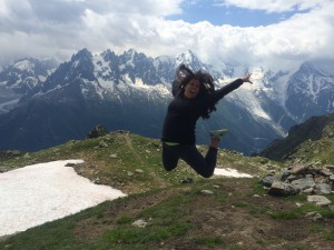 Julianna jumping on a trail to Lac Blanc in Switzerland.