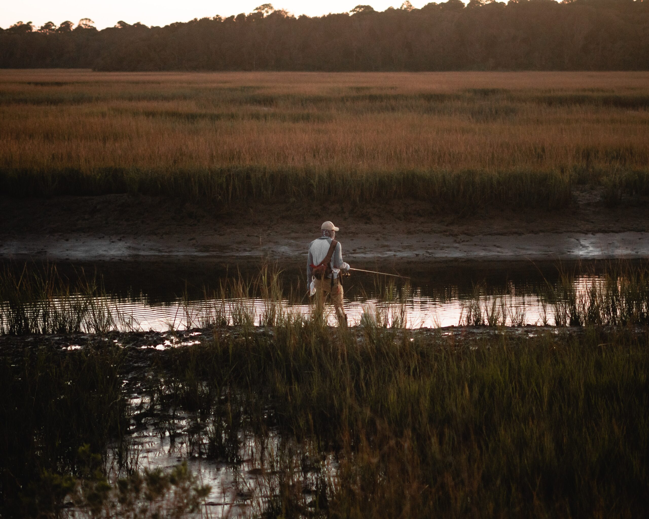 a man fishing in a swamp