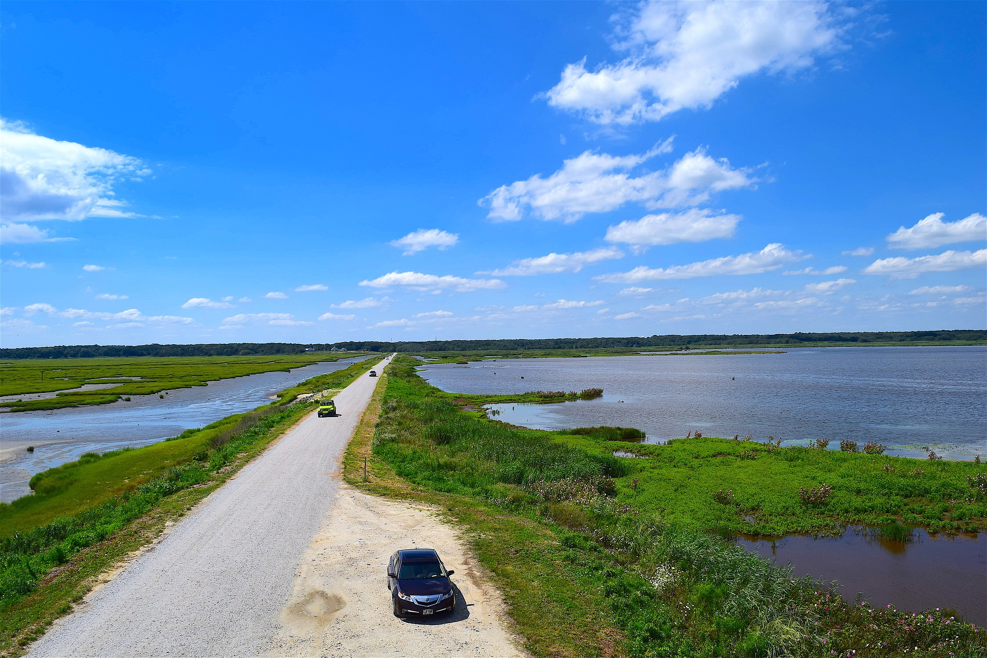 a road extends into a marsh