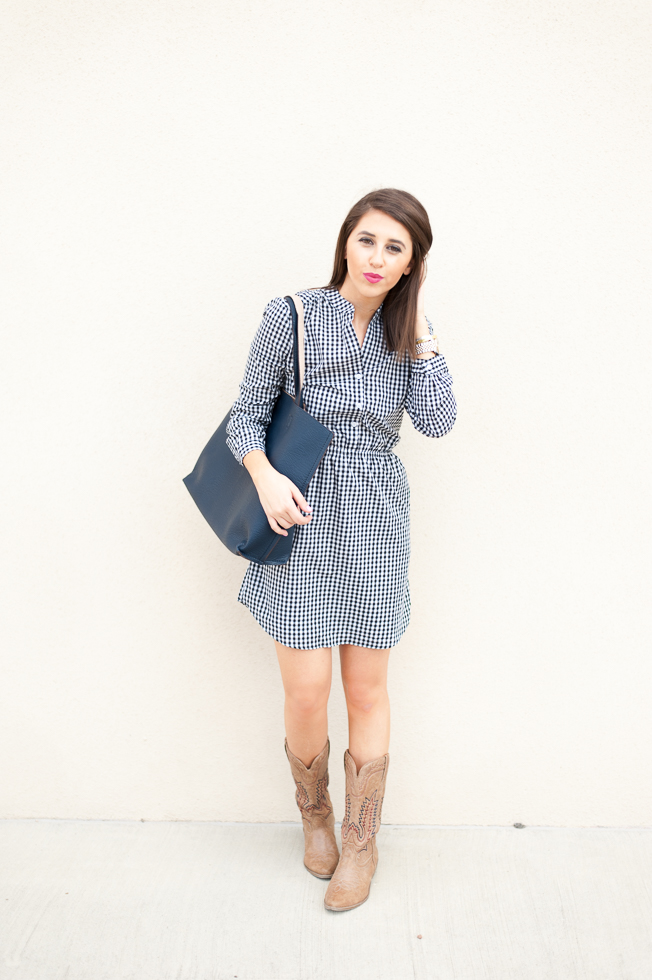 Dress Up Buttercup | Houston Fashion Blog - Dede Raad | Charles Henry Gingham Woven Shirtdress