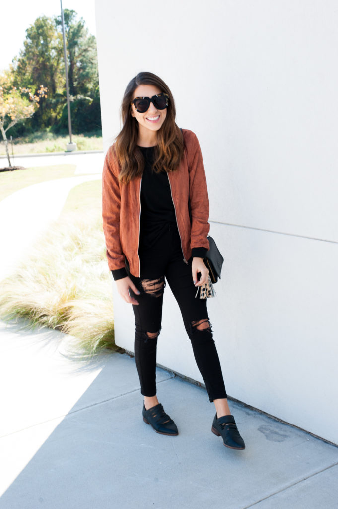 Dress Up Buttercup // A Houston-based fashion travel blog developed to daily inspire your own personal style by Dede Raad | Suede Bomb Jacket
