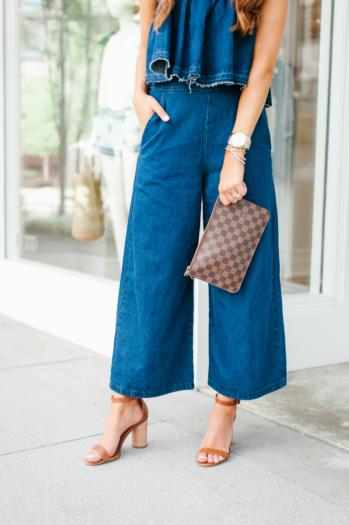Dress Up Buttercup, Dede Raad, Houston blogger, fashion blogger, J.O.A. Strapless Crop Denim Jumpsuit, Denim on Denim Jumpsuit